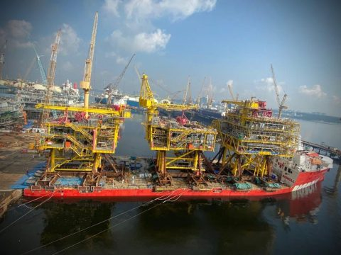 TotalEnergies loads out Tyra modules in Singapore