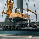 Heavy-lift vessel Combi Dock I transships Liebherr cranes to Ivory Coast